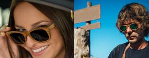 een houten zonnebril voor hem en haar